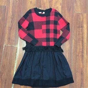 Gap kids Size 6 -7 Red And Black Plaid Girls Dress